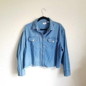 Levi's Frayed Raw Hew Button Down Top Long Sleeve
